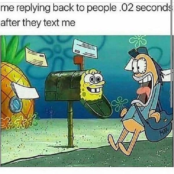 Funny Spongebob meme replying back to people