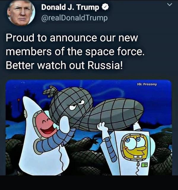 Funny Spongebob meme space force
