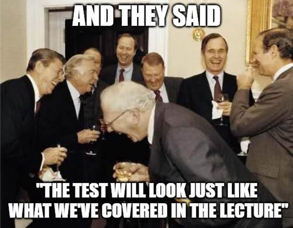 las school meme hilarious the test will look like