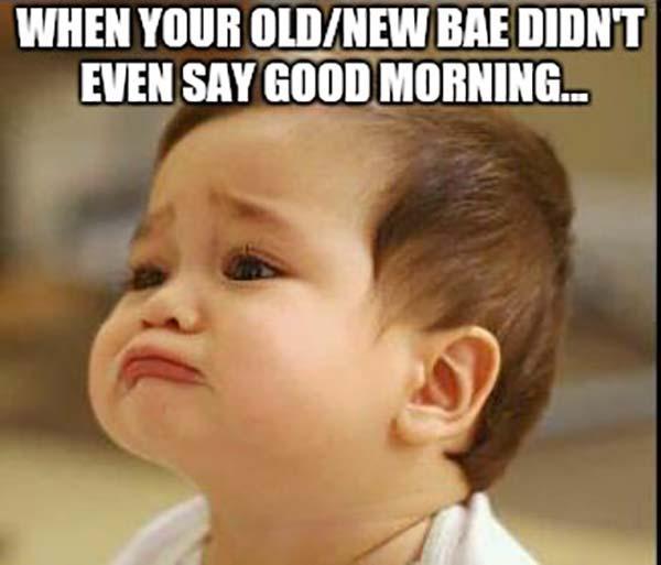 sad good morning baby meme