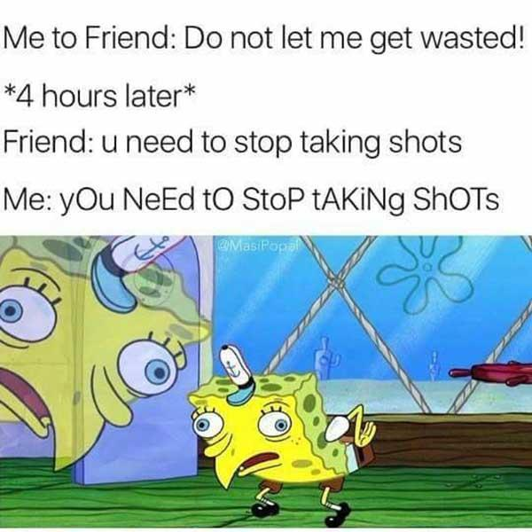 spongebob mocking meme wasted