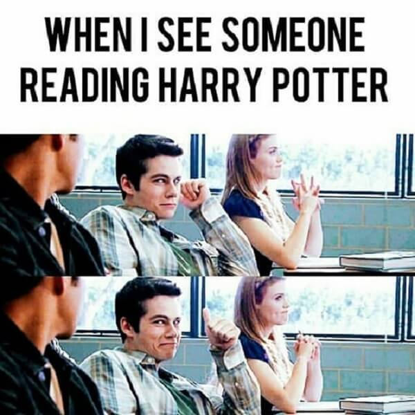 Harry Potter memes when i sees someone reading harry potter