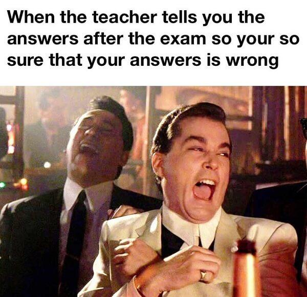 funny laughing memes when the teachers tells you the answer after the exams...