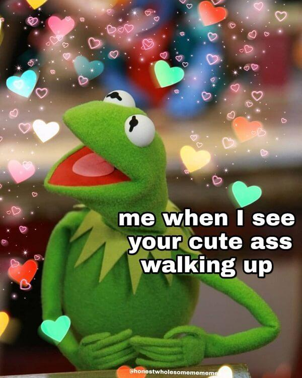 kermit love memes me when i see your cute ass waking up
