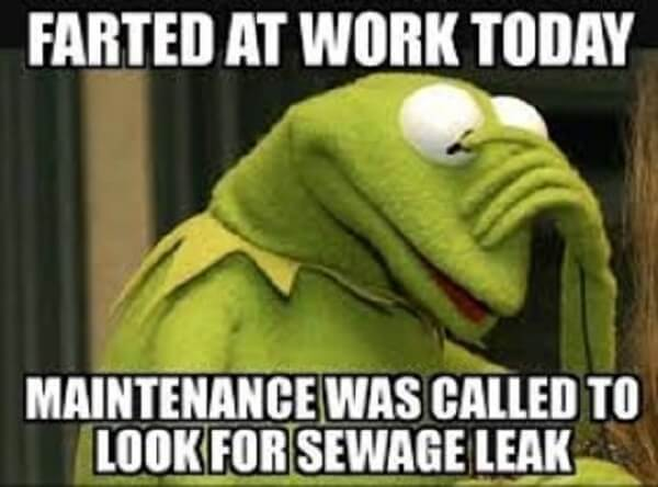 kermit meme fart at work today