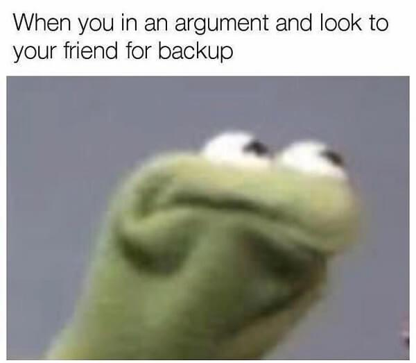 kermit meme look for back up