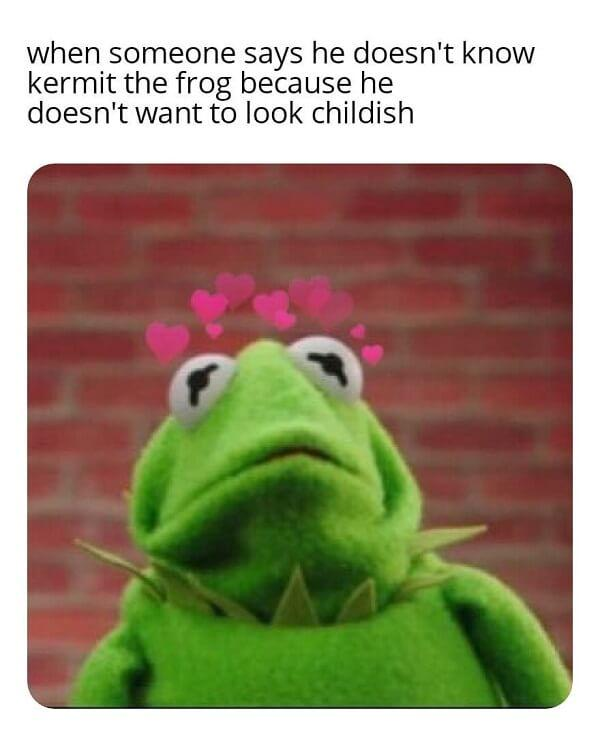 kermit meme when someone says he doesnt know kermit