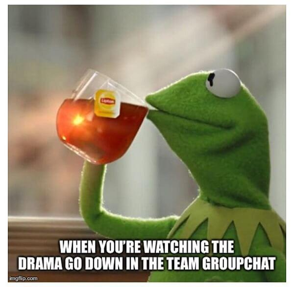 kermit the frog tea meme drama in the groupchat