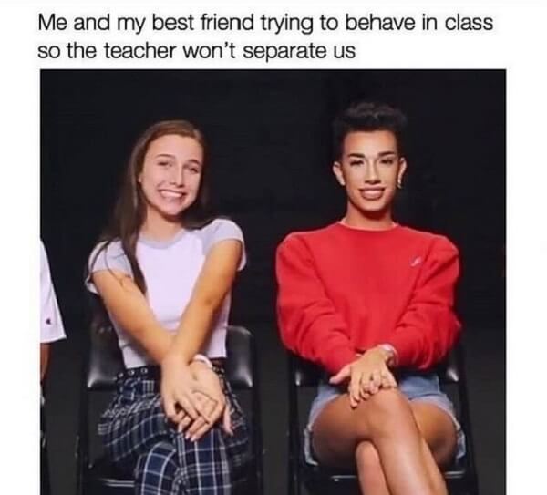laughing kid meme me and my best friend in class