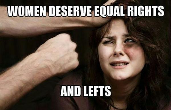 offensive meme right ans lefts woman