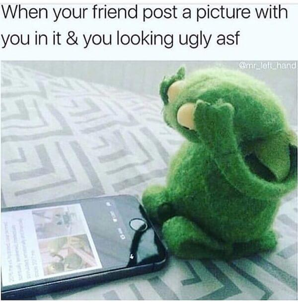 sad kermi meme when your friend post a picture