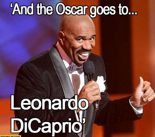 steve harvey laughing meme oscar go to leonardo di caprio