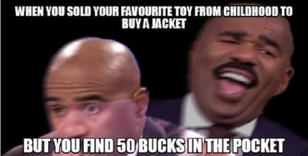 steve harvey laughing meme when you sold your favorite toy