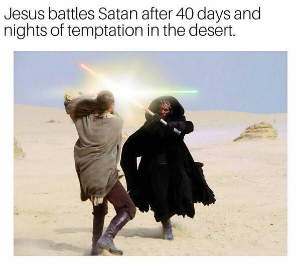 Jesus Meme battled satan in the desert