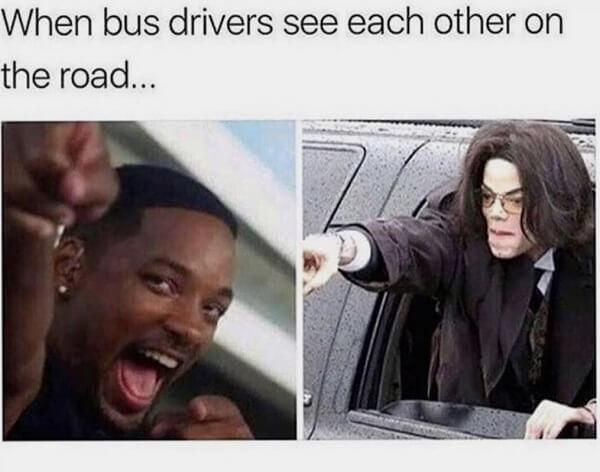 clean memes when bus drivers see each other