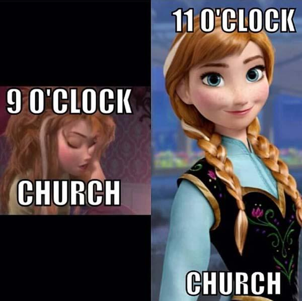 frozen memes 9 o'clock church vs 11 o'clock church