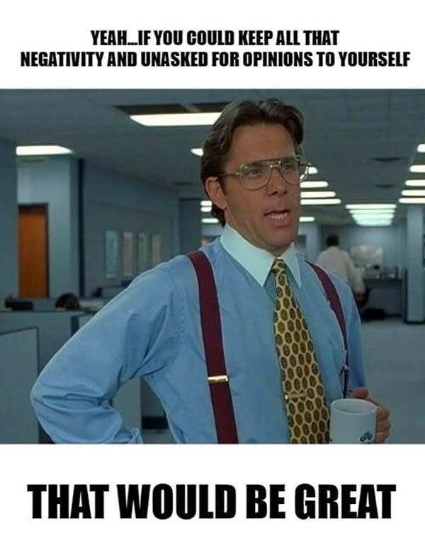 office space meme negativity