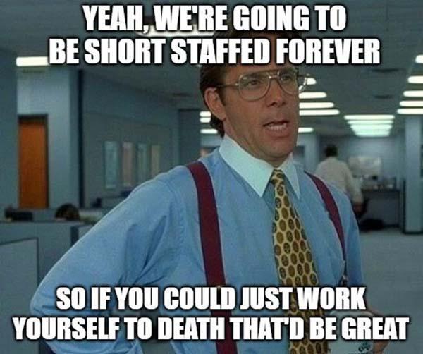 office space meme short taff