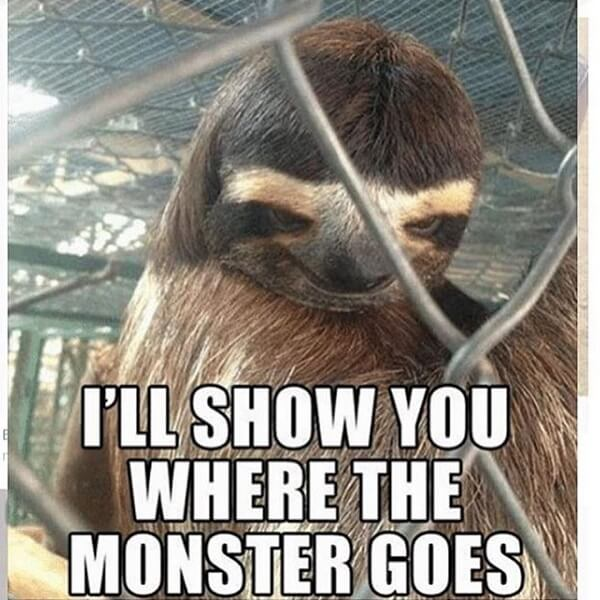 sloth meme i'll show you where the monster goes