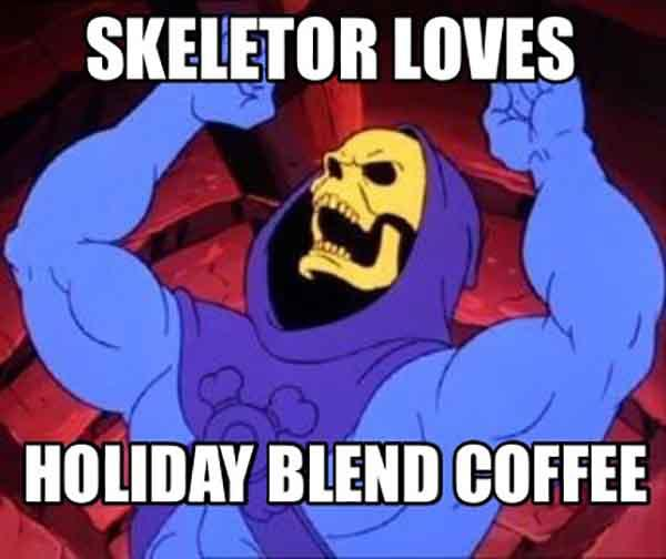 funny skeleton meme about coffee