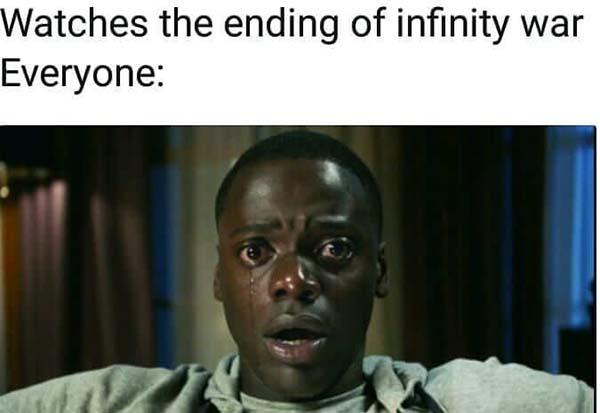 get out meme watches the ending of infinity war..