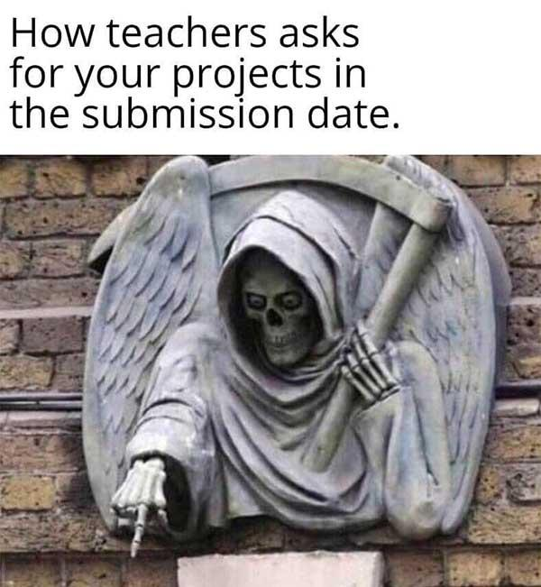 skeleton meme how teachers asks for your project...