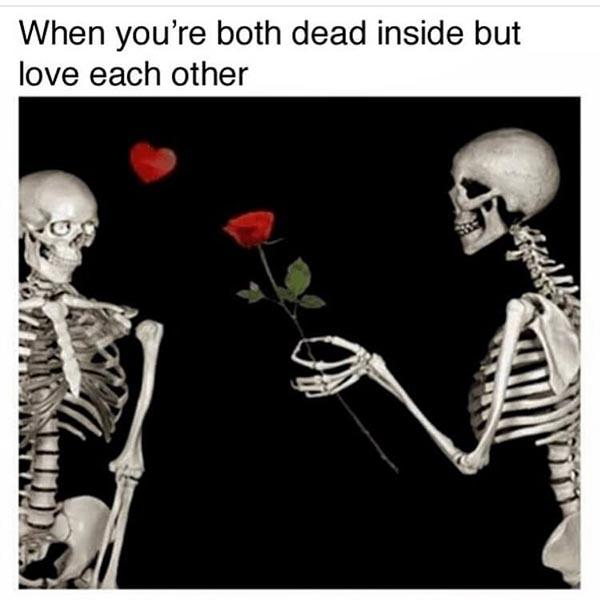 skeleton meme love each other