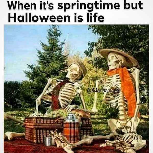skeleton meme when it's springtime but...