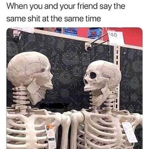 skeleton meme when you and your friend...