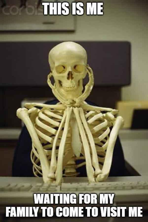 skeleton waiting meme waiting for my family to come to visit me