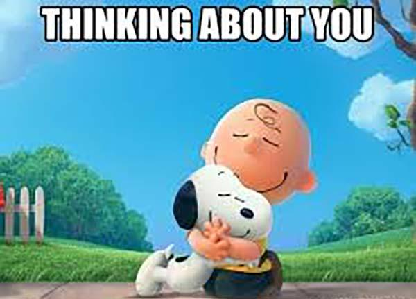 thinking of you meme snoopy and charlie brown