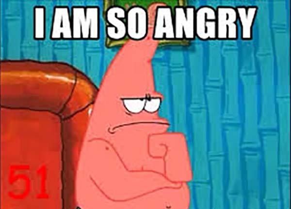 funny angry patrick meme