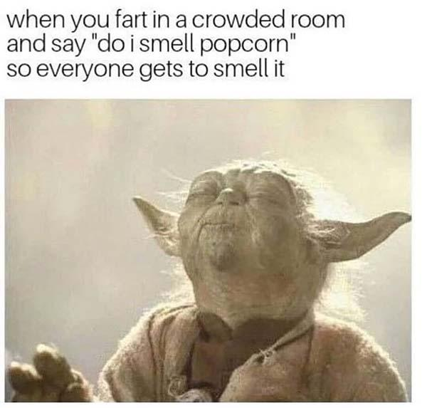 funny yoda meme when you fart in a crowed room