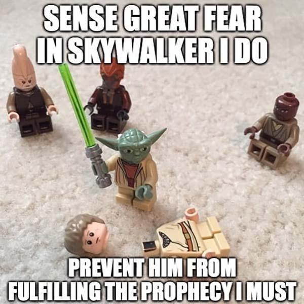 lego yoda meme sens great fear...