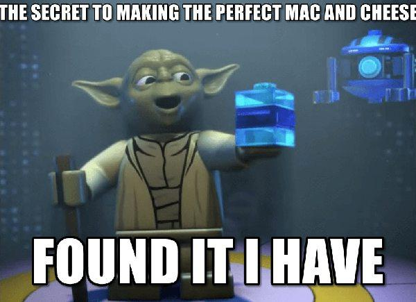 lego yoda meme the secret of making the perfect mac and chees