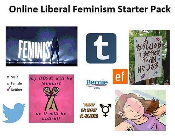 liberal starter pack meme