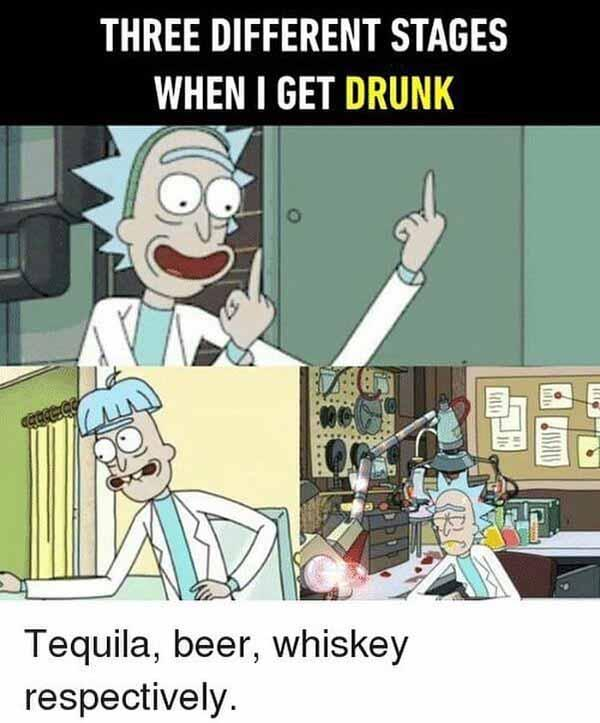 rick and morty memes three stage when i'm drunk..