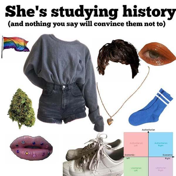 she's studying history starter pack