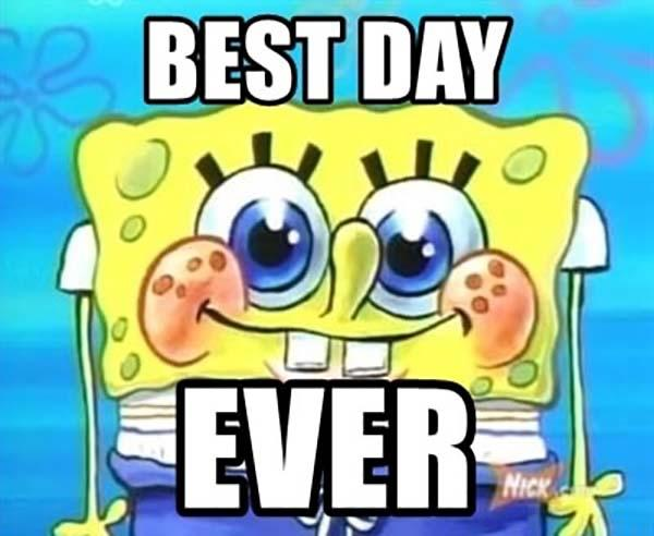 spongebob meme faces best day ever