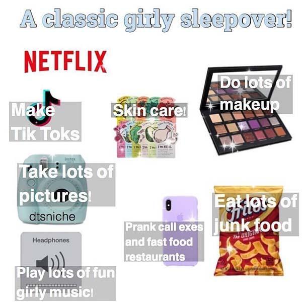 starter pack meme a classic girly sleepover