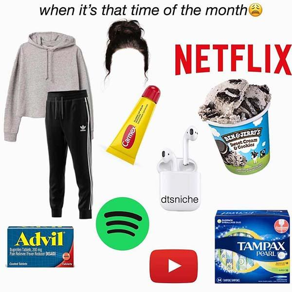 starter pack meme when it's that time of the month