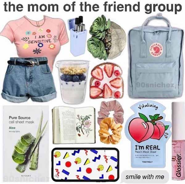 the mom of the friend group starter pack