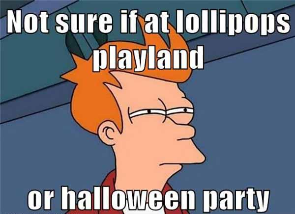 Not sure if at lollipops playland or halloween party