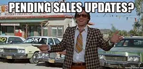 Pending Sales updates used car saleman meme