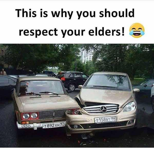 Respect your elders car crash meme
