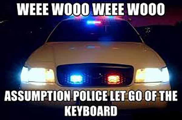 Weee WOoo Weee WOoo Assumption police let go of the keyboard - cop car