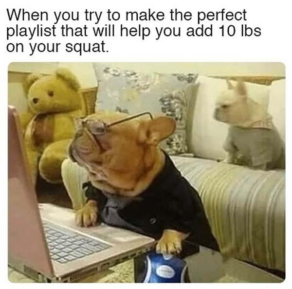 When you try to make the perfect playlist...Leg Day Meme