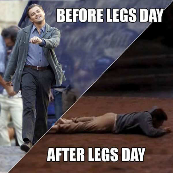 before leg day...after leg day meme
