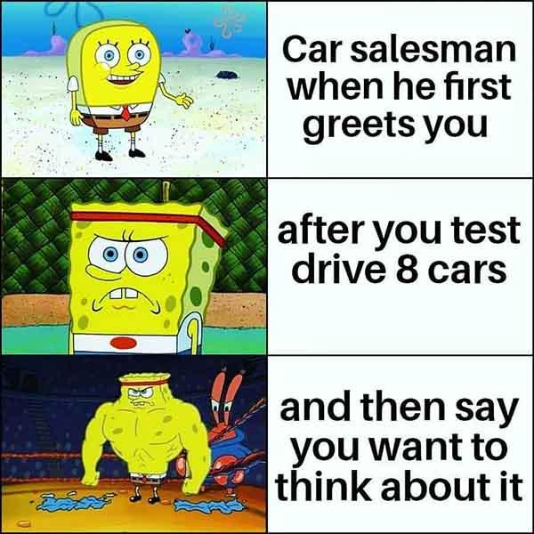 car salesman when he first greets you