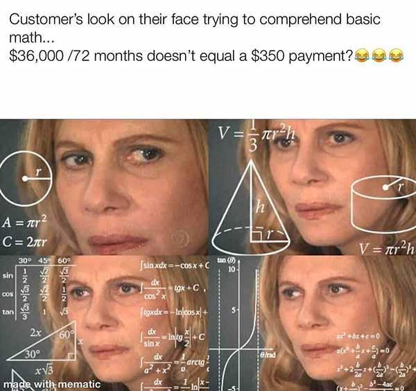 customer's look on their faee... car saleman meme